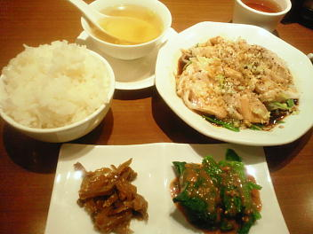 ディナーセット 本日のおすすめ(蒸し鶏の特製葱ソース)
