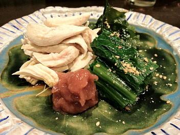 小松菜とササミ梅肉