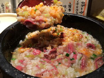 石焼き鍋の和牛テール粥