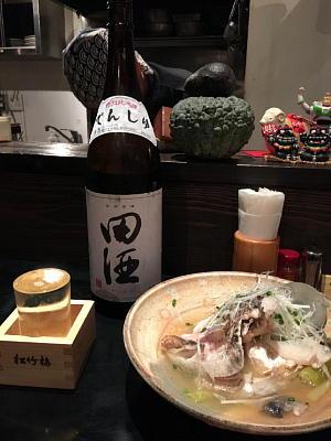 鯛カブトの難波煮、特別純米酒 田酒(青森・西田酒造店)