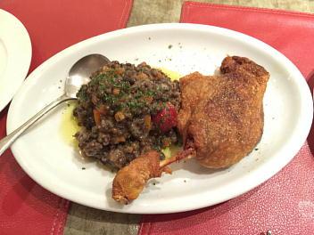 フランスシャラン産鴨もも肉コンフィ レンズ豆冷製サラダ