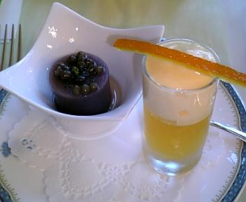 水羊羹とレンズ豆のコンポート、西海産甘夏のジュレ